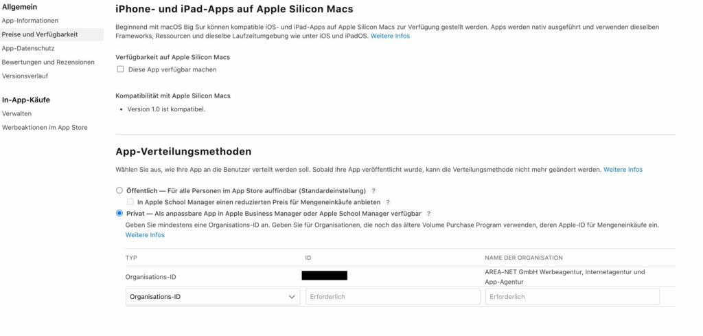 Apple Business Manager interne Apps Developer Account